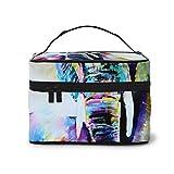 Bolsa de almacenamiento con diseño de elefantes indios de colores vintage con ajustable para cosméticos, brochas de maquillaje, artículos de tocador