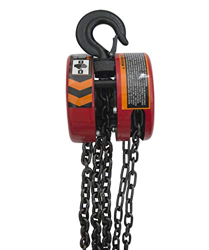 BIG RED TR9010 Torin Manual Hand Lift Steel Chain Block Hoist with 2 Hooks, 1 Ton (2,000 lb) Capacity, Red