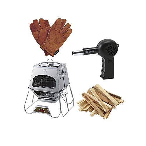 [4種類セット] LOGOS(ロゴス) the KAMADO+BBQ耐熱レザーグローブ+BBQガンブロー+薪3kg