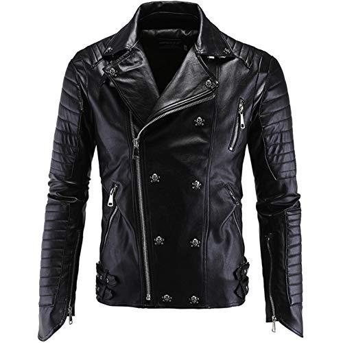 Chaqueta de cuero punk para hombre, diseño de calavera con remaches de motor, chaqueta de piel, chaqueta de motociclista, cortavientos, cremallera delgada, color negro, XL