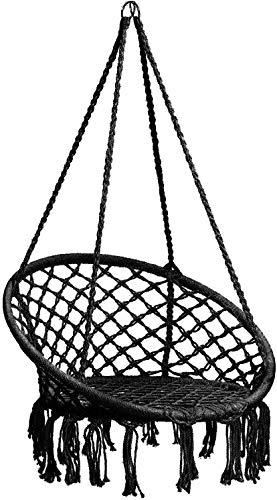 LJXiioo Silla Hamaca Columpio de macramé, Silla de ratán para Colgar sillas de macramé para Interior/Exterior, Patio, Porche, jardín, terraza, Capacidad de 265 Libras,B
