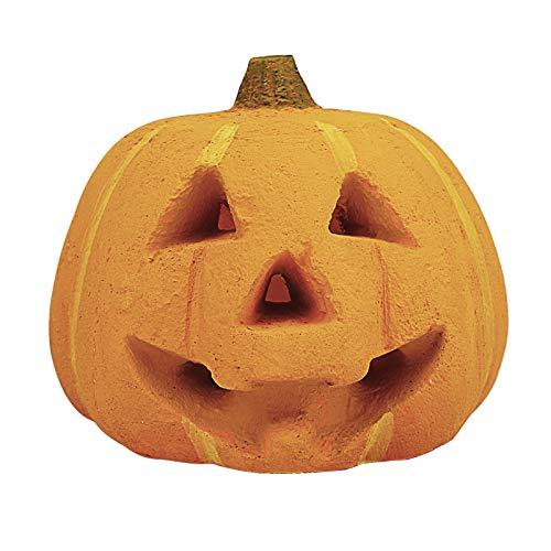 GFTIME 7-inch gesneden pompoen voor open haarden, vuurplaats, vuurvaste keramische decoratie voor binnenshuis buiten kampvuur, Halloween/kostuum feestdecor, (1-pack)