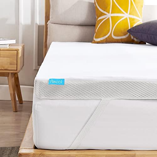 Recchi - Topper per 140 x 190 cm, 7 cm, con schiuma elastica elevata, coprimaterasso rinfrescante in gel infuso per adulti con elastici, morbidi e supporti, lavabile