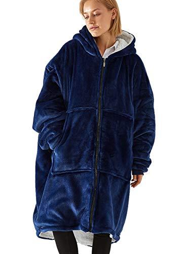 Sudadera con capucha con cremallera, de gran tamaño, suave, con capucha y bolsillo frontal, cálida para invierno, para hombres, mujeres y niñas