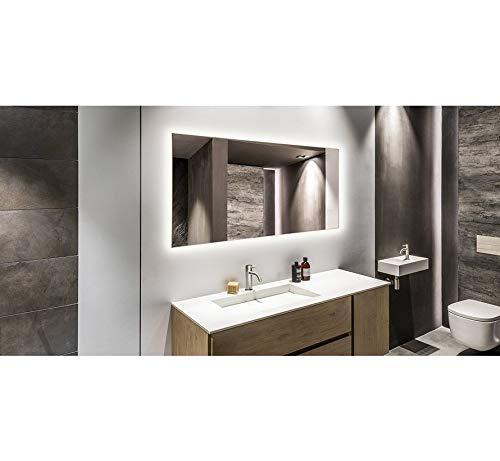 Specchio con illuminazione a LED, riscaldamento a infrarossi, 60 x 100 cm,...