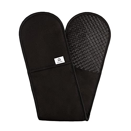 Heat Resistant Black Oven Gloves | Double Oven Mitt Pot Holder With Silicone Non-slip Design For Home Kitchen Baking | Modern Stylish Cooking Oven Glove Mitts…
