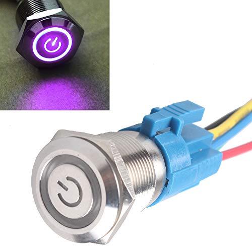Preisvergleich Produktbild Mintice KFZ Kippschalter Druckschalter Schalter Drucktaster Wippschalter 19mm 12V Violett LED Licht Metall Buchse Stecker Draht