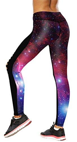 YIKIBODA Women's Galaxy Star Printed High Waist Leggings Pants with Cutout Front, Blue Galaxy, Tag Size XL = US L