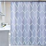 Topmail Rideau de Douche Imperméable et Anti-moisissure avec 12 Anneaux Crochets 100% Polyester Rideau de Salle de Bain Imprimé Bleu et Gris 180 * 180cm (Vague)