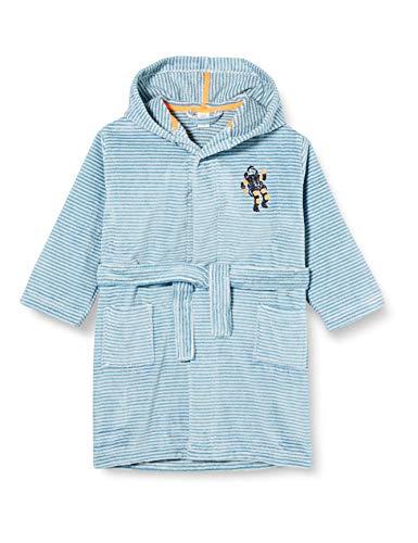 Sanetta Jungen Bathrobe Petrol Houston wir gehen Baden Einmalig kuscheliger Bademantel hellblauen Ringel-Look mit einem coolen Astronauten-Patch, türkis, 104