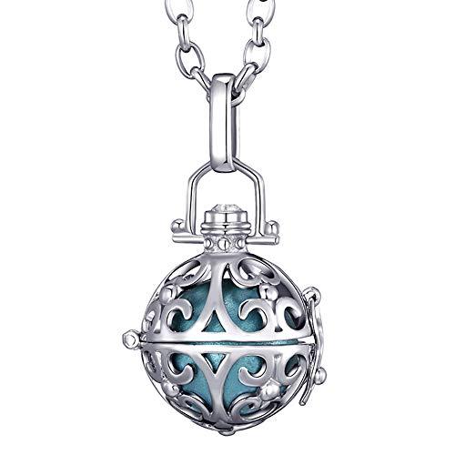 Morella® Damen Halskette Edelstahl 70 cm mit Ornament Anhänger und Klangkugel hellblau Ø 16 mm in Schmuckbeutel