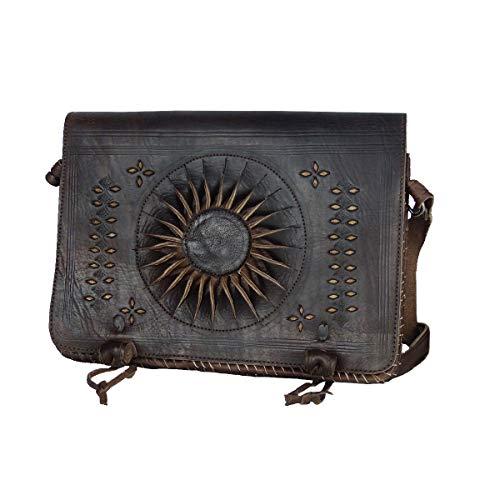 """Leder-Tasche """"Dorah"""" 22x28cm Dunkelbraun • marokkanische Umhängetasche mit Ledernäherei • 100% Handarbeit • Verstellbarer Schultergurt Aktentasche Bürotasche Abendtasche - Simandra"""