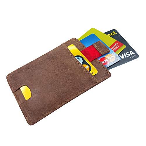 FreeHaveFun® RFID Blocker Kartenetui Leder, braun   Kartenhalter klein, Mini Geldbörse Slim, Minimalist Wallet, Herren Kreditkartenhalter, Damen Kreditkartenetui, NFC Schutz, Portemonnaie, Geldbeutel