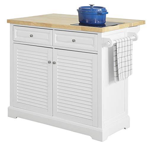 SoBuy FKW84-WN Kücheninsel Küchenwagen mit erweiterbarer Arbeitsplatte Küchenschrank Servierwagen mit Marmorplatte Sideboard auf Rollen weiß BHT ca.: 115x93x46-71cm