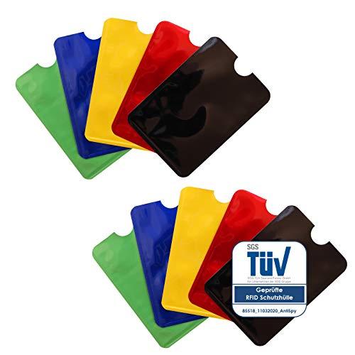 TÜV-geprüfte RFID Karten Schutzhüllen NFC Blocker Kreditkarte EC Karte Abschirmung - 10er Pack
