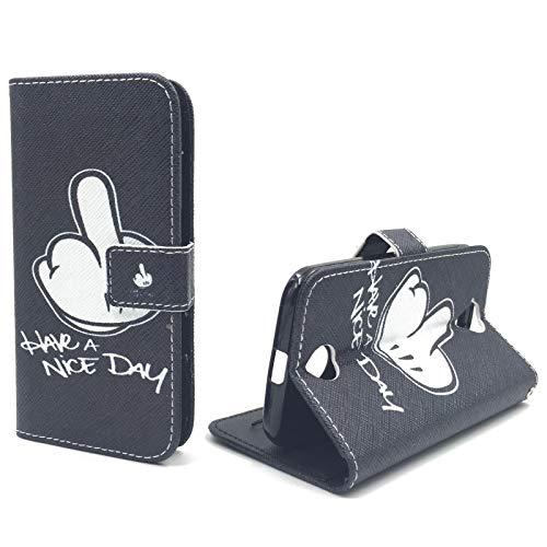 König Design Handyhülle Kompatibel mit Acer Liquid Z330 Handytasche Schutzhülle Tasche Flip Hülle mit Kreditkartenfächern - Have A Nice Day Weiß Schwarz