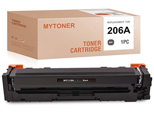 MYTONER (NO CHIP) Compatible Toner Cartridge Replacement for HP 206A W2110A for Color Laserjet Pro M255dw Color Laserjet MFP M283fdw MFP M282nw MFP M283cdw (Black,1-Pack)