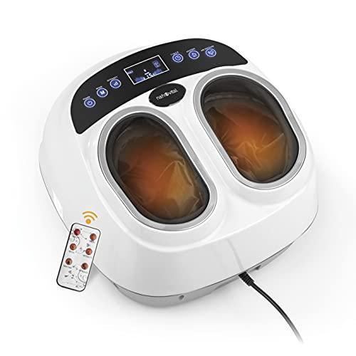 nah-vital® masajeador de pies Shiatsu | Masaje Shiatsu | Masaje por presión de aire | Masaje rodante | Función de calor | Función de temporizador | Incluye mando a distancia | Funda lavable | Blanco