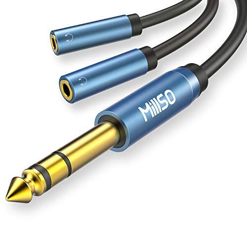 MillSO 1/4 macho a 2 x 3,5 mm 1/8 adaptador de auriculares...