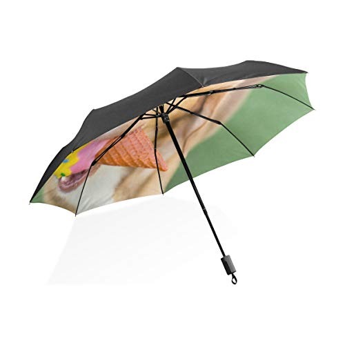 Gigante Paraguas Invertido Perro Lindo Comer Helado Frío Portátil Compacto Paraguas Plegable...