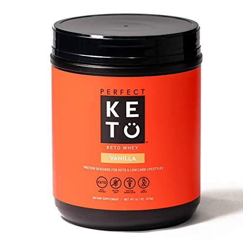 Perfect Keto Pure Whey Protein Powder Isolate Delicious 100% Grass Fed Meal Replacement Shake No Artificials, Gluten Free, Soy Free, Non-GMO (Vanilla)