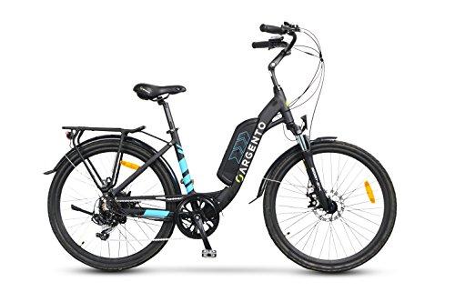 """Argento Omega, Bicicletta Elettrica City Bike, Assicurazione AXA \""""Tutela Famiglia\"""" inclusa, Ruote Kenda 26\'\', Unisex, Blu, Telaio 44 cm"""