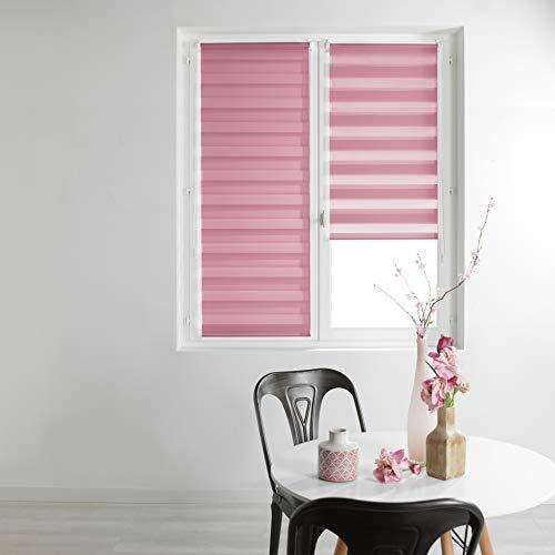 Estor Enrollable de día y Noche, 90 x 180 cm, poliéster, Color Rosa