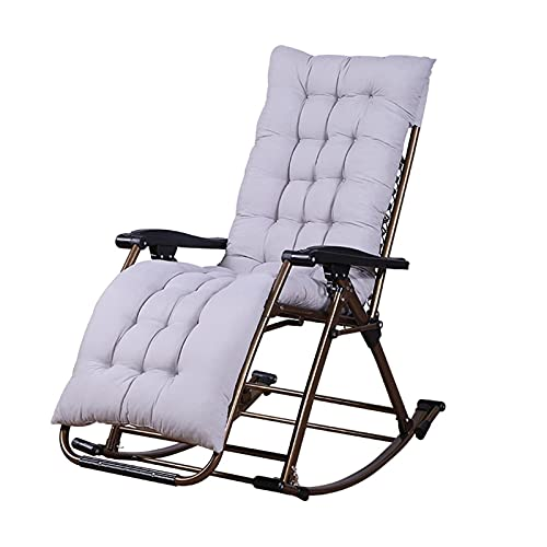 WGFGXQ Black Porch Rocking Chairs with Cushions, Outdoor Folding Rocker Chairs, Zero Gravity Recliner Chair for Patio/Poolside/Camping/Garden, Loads 150kg (Color : with Cotton Cushion)