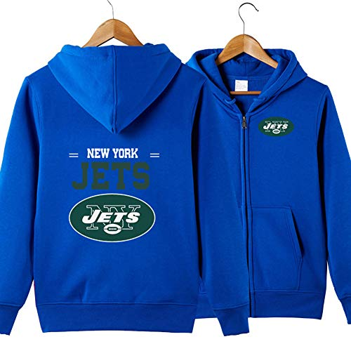 Männer Hoodie-New York Jets Football Team Zipper Cardigan Uniform Pullover, Langarm-Sweatshirt Fall Sweatshirt Fan Jersey,Blau,XXL
