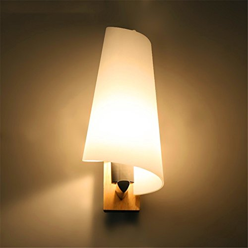 WEXLX Appliques en bois simple lampe murale pour Salon Chambre à coucher balcon allée diamètre13 cm hauteur27cm