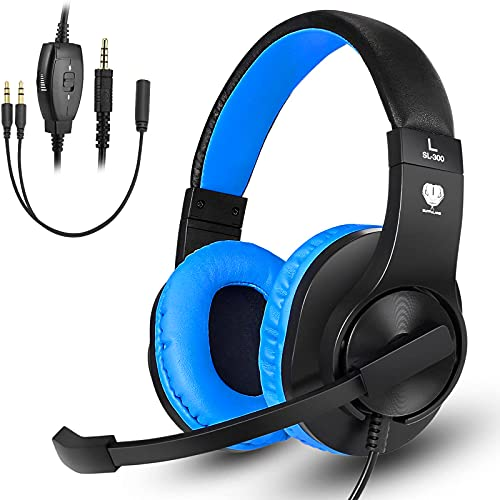 Gaming Headset for Nintendo Switch, Xbox One, PS4, DIWUER Bass Surround and Noise Cancelling 3.5mm Over Ear Headphones with Mic for Laptop PC Smartphones (Black Blue)