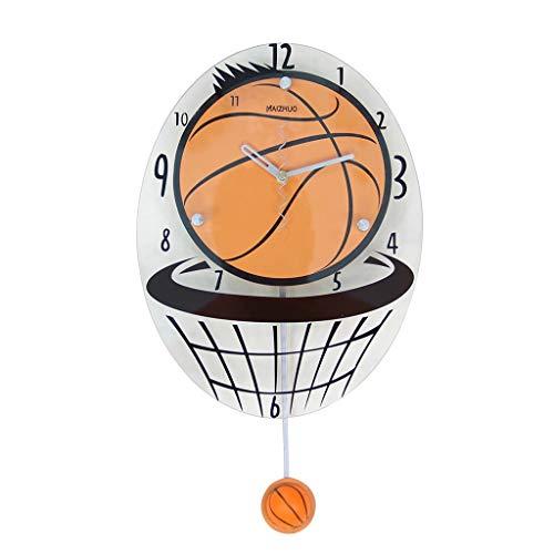 Pendules murales Basket-ball horloge murale créative salon horloge murale de mode horloge murale personnalisée horloge silencieuse maison swing (Color : Brown, Size : 37 * 26cm(14.5 * 10.2in))
