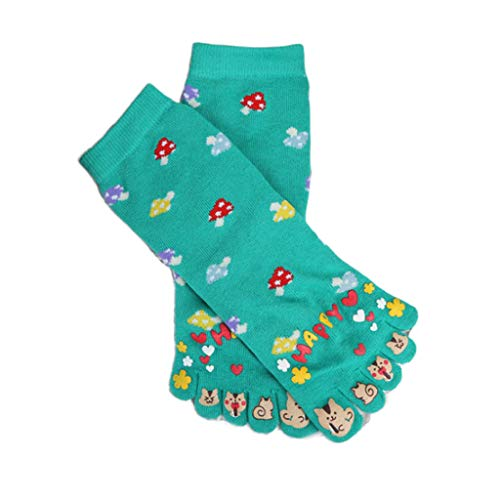 YO-HAPPY Mujeres Lindas Cinco Dedos del Dedo del pie Calcetines Coloridos Hongos Dibujos Animados Gato Estampado calcetería