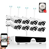 【Audio & Extension Antenna】JOOAN 3MP Security Camera System Wireless,8 Channel NVR & 8pcs 1296P Bullet Cameras, IP67 Weatherproof,AI Human Motion Alert with 1TB Hard Drive