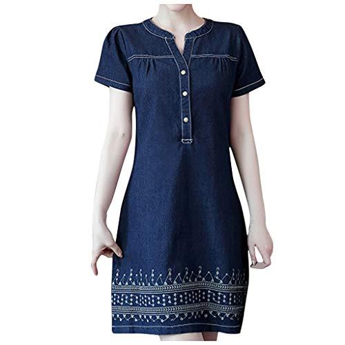DAIFINEY Vrijetijdsjurk voor dames, spijkerjurk, mini-jurk, V-hals, casual jurk, dagelijkse kleding, casual jurk, eenvoudige jurk, vakantiejurk, basic jurk