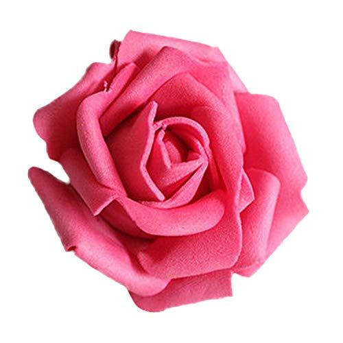 50Rosenblüten, aus Schaumstoff, Blütenkopf, künstliche Blume, Dekoration, zum Basteln, für Garten und Haus rot/rosa