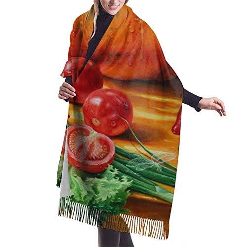 leyhjai Kürbis Butternut Tomate Frauen Braut Winter Pashmina Schals für Frauen Warme dicke übergroße Schals