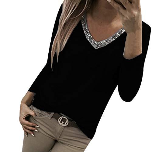 Geilisungren Damen T-Shirt Sexy Glitzer Paillette Patchwork V-Ausschnitt Bluse Sweatshirt Herbst Frühling Casual Langarm Oberteil Lose Tunika Tops für Frauen