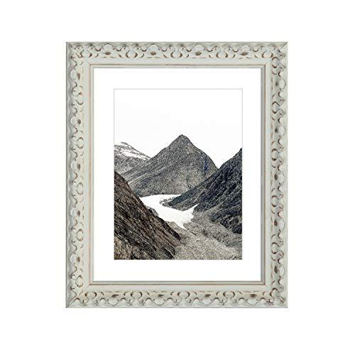 Tailored Frames -Vienna Range Vintage kunstvoll Shabby Chic Foto und Bilderrahmen in weiß mit weißen Passepartouts Rahmen 70x50 cm für A2