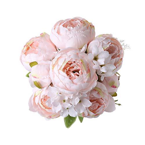 Decpro 1 Packung Künstlicher Pfingstrosenstrauß, 19 Zoll Seide Große Pfingstrosen Blumen mit Knospen für Hochzeit Home Office Hotel Dekoration, DIY Blumenarrangements(Pfirsich Rosa)