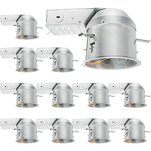 Hykolity 12 Pack 4 Inch Recessed Lighting Housing Remodel, Shallow Type Airtight IC Can Housing with TP24 Connector for LED Recessed Downlight Retrofit Kit, Recessed Light, ETL Listed