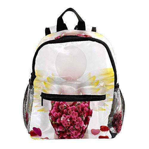 Schultasche für Kinder Engel und Liebe Kinderrucksack Babytasche minirucksack für 3-8 Jährige Jungen und Mädchen im Kindergarten 25.4x10x30 cm