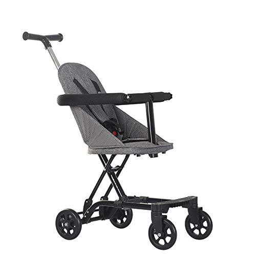 ZKK Cochecitos de bebé, cochecitos de bebé con cuatro ruedas para viajes al aire libre, excursiones, paseos en el parque, compras, etc. (color: gris)