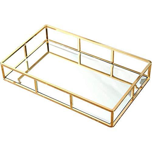 Huante - Bandeja de perfume con bandeja de espejo, mesa de bandeja decorada con oro, bandeja de vainidad dorada, bandeja de bebida dorada, bandeja de espejo de metal