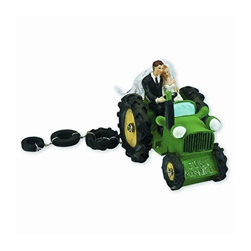 Artif Figurine Mariés d'agriculteurs sur Tracteur Vert, en résine, 140 x 90 x 110 mm