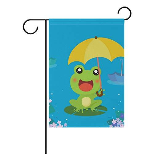 FANTAZIO Gartenfahne Frosch mit Regenschirm, mit Seitenflagge, Polyester, 1, 12x18(in)