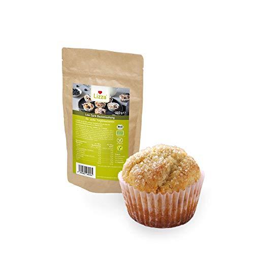 Lizza Low Carb Backmischung für Süße Teige 1kg | Ohne Zuckerzusatz | 82% weniger Kohlenhydrate | Protein- & Ballaststoffreich | Bio. Glutenfrei. Vegan. Keto. | Laktosefrei | 50 Muffins oder 200 Kekse