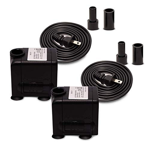 Giikin 2 Pcs 120GPH Submersible Water Pump (450L/H, 6W), Ultra Quiet Adjustable Powerful Aquarium Pumps with 5ft Power Cord for Fish Tank, Pond, Fountain PSWP0022P
