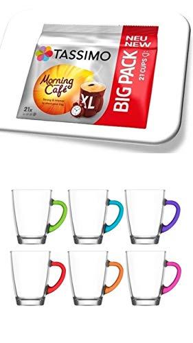 Tassimo Morning NEU 21 Kapseln Café XL, Kaffee Kapseln + 6 Glastassen mit Henkel 300cc