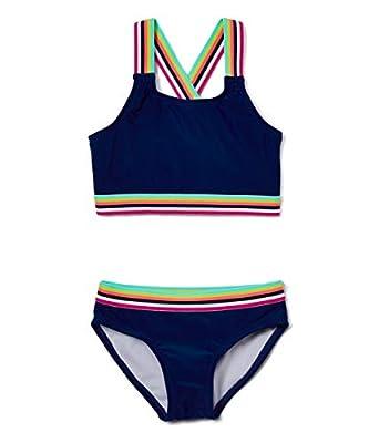 Kanu Surf Girls' Tanya UPF 50+ Beach Sport Athletic Bikini Swimsuit, Bobby Navy, 8